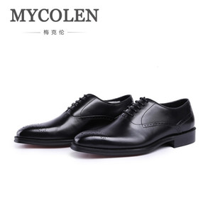 MYCOLEN New Design Luxury Genuine Leather Lace Up Modern Men Brogue Shoes Party Wedding Suit Formal Footwear Male Dress Shoes