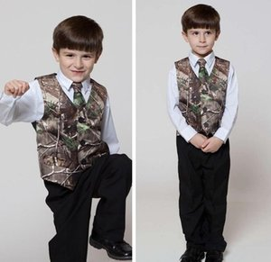 Real Tree Camo Boy's Formal Wear Vests With Ties Camouflage Groom Boy Vest Cheap Satin Custom Formal Wedding Vests Camouflage