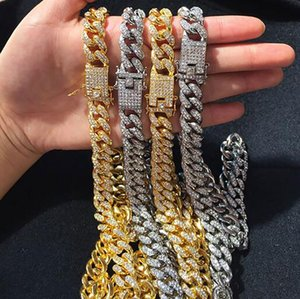 12mm 18K Gold Plating Diamond Miami Cuban Link Chain Necklace Hip Hop Bling Bling Jewelry Trendy Fashion Whosales