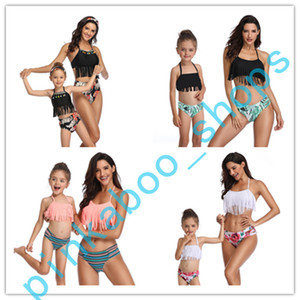 Wholesale kids tank tops girls resale online - 2020 Summer Women and Kids Two Piece Bikini Set Brand Swimwear Tank Top Underwear Swimsuit Parent child Bikinis Beachwear Suit LY413