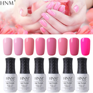 HNM 8ml Gel Nail Polish Pure Pink Color Soak Off UV LED Varnish Lacquer For Nail Art Semi Permanent Hybrid Gellak Base Top Coat on Sale
