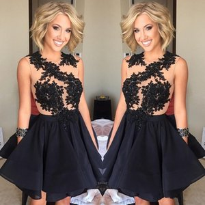 Wholesale 2019 New Design Black Short Prom Dresses Illusion Back A Line Homecoming Dresses Sleeveless with Lace Appliques Cocktail Party Dresses