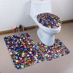 3pcs set Colorful Pebble Bathroom Door Toilet Non-Slip Mat Toilet Decoration Carpet Set
