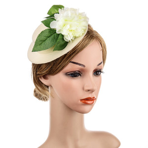 Wholesale Wedding Bridal Fascinator with Flower Green Leaf Hand Made Bride Hair Clip with Pearls High end Hair Accessories
