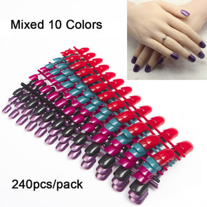 240pcs pack Mixed 10 Colors Full Cover Tips Short Design Nails Faux Ongles False Acrylic Nails Art Tips