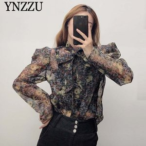 Wholesale Vintage Women Sexy organza Blouse Transparent bow tie collar Floral print Female shirt Fashion Puff Sleeve Tops YNZZU YT745