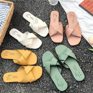 Simple Style Women's Slippers with Cross Belt Summer Outdoor Sandals for Ladies Fashion Women's Beach Shoes