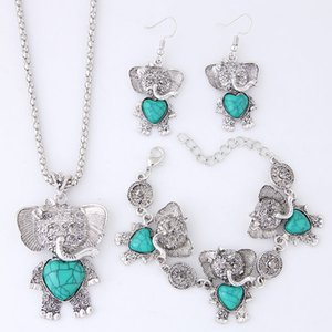 Wholesale anchor jewelry for women resale online - Vintage Retro Fashion Accessories Jewelry Sets Turquoise Dreamcatcher Elephant Anchor Dangle Earrings Chokers Necklaces Bracelets For Women