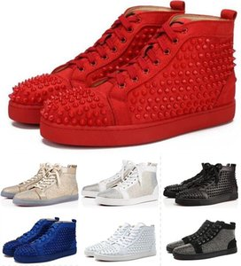 Wholesale 2019 TOP Designer Studded Spikes Flats shoes for Mens Women Party Lovers Genuine Leather Sneakers