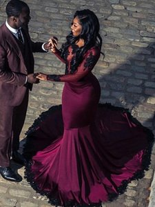New Backless Crystal Burgundy Illusion Lace Africa Evening Dress Lace Mermaid Long Sleeve Elegant Formal Prom Gowns Plus Size Runway Fashion on Sale
