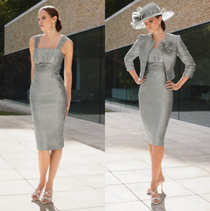 Elegant Grey Mother Of The Bride Dresses With Jackets Uk Modest Knee Length Short 2 Pieces Groom Mom Formal Dresses Without Hat 2019