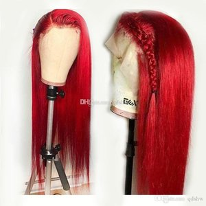 Wholesale red indian human hair lace wig resale online - Lace Front Wigs Human Hair With Color Red Pre Plucked Straight Glueless Virgin Brazilian Red Virgin Hair Full Lace Wig For White Women