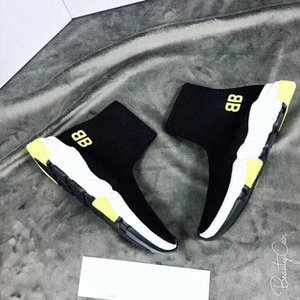 Wholesale Black Sock Shoes Yellow Sole Designer Speed Trainer Men Women High Top Knit Sock Shoes New Colors Hot Sale Fashion Sneakers
