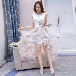 Wholesale Summer Fashion Women s Organza Floral Print High Waist Dresses Women O neck Princess Irregular Dress Sexy Slim Party Dress