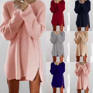 Wholesale Autumn Winter Knitted Cotton Sweater Dresses Women Loose Round Neck Solid Pullover Female Knitted Dress Vestidos Plus Size