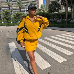 Jacket Tracksuit And Mini Skirt Two Pieces Sets Women Long Sleeve Turtle Neck Patchwork Jacket Outwear Slim Top Skirt Streetwear