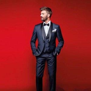 Wholesale Navy Blue Wedding Tuxedos Slim Fit Suits For Men Groomsmen Suit Three Pieces Cheap Prom Formal Suits Jacket Pants Vest Bow Tie