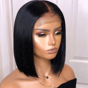 Wholesale short hair straight resale online - Bythair Short Bob Silky Straight Peruvian Human Hair Full Lace Wigs Baby Hairs Pre Plucked Natural Hairline Lace Front Wig Bleached Knots