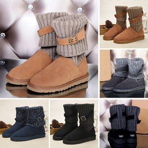 Wholesale WGG Fshion Leather Sweater Knee Boots Ankle Boots Australia Classic Brand Womens girl Knitting Wool Tie Black Grey Blue Winter Snow