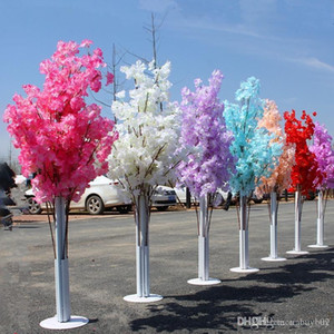 Wholesale cherry blossoms resale online - Colorful Artificial Cherry Blossom Tree Roman Column Road Leads Wedding Mall Opened Props Iron Art Flower Doors