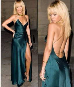 Sexy Dark Green Evening Dresses 2019 A Line Backless Spaghetti Straps Cut Out Prom Dresses Party Gowns Custom Made Rihanna Celebrity Dresses