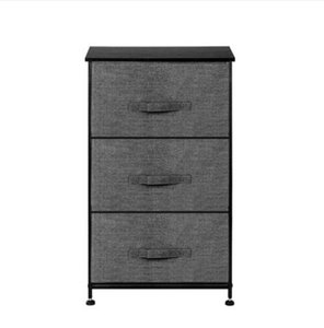 Wholesale Grey 3-Tier Dresser Drawer Storage Unit +3 Easy Pull Fabric Drawers+Metal Frame