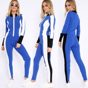 Wholesale 2Pcs Set Women Loungewear Tracksuit Zipper Sweatshirt Sports Jogging Top Pants Spring and Summer