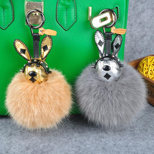 Wholesale cute fox resale online - New Gift Cute Rabbit Charm Real Fox Fur Ball Fluffy Keychain Car Key Chain Ring Pendant for Bag Charm Hot Sale