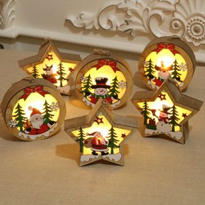 Popular Christmas Decoration Wooden Glowing Ornament Star Round Shape LED Light Luminous Santa Snowman Deer Hanging Pendant