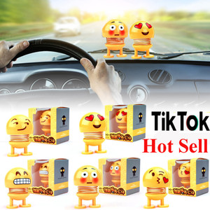 Wholesale Top quality Emoji Shaker Smile Shaking Head Doll Toy Car Ornaments Decor Plastic Cartoon Funny Spring for Living Room Tik Tok Hot Sale