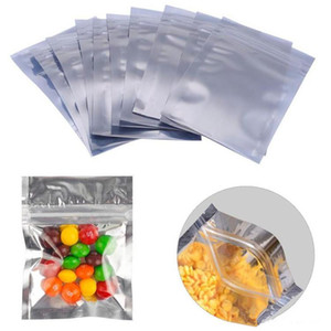 Wholesale 8 cm Front Clear Plastic Silver Aluminum Foil Package Bag Ziplock Translucent Mylar Packaging Pouch Heat Seal Storage Bag