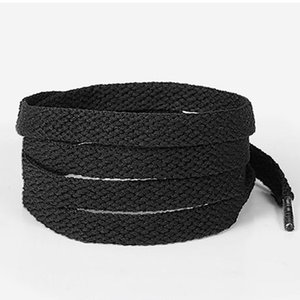 Wholesale Cheap Price Polyester White Black Shoelaces Low Elastic Silk Flat Follow Double Layer Shoe Laces for Shoes Black Anthracite