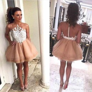 Wholesale Short Mini Length New Crystal Design 2019 Summer Party Dresses Prom Wear Illusion Appliques Covered Button Tiered Skirts Homecoming Dress