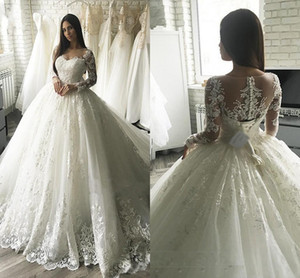 Wholesale 2019 Modest Arabic Princess Ball Gown Wedding Dresses Lace Appliqued Long Sleeve Sheer Back With Button Covered Belt Long Dubai Brides Gowns