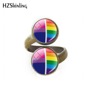 Wholesale New Super Pride Rainbow Adjustable Ring For Women Bi Pride Glass Cabochon Photo Rings Silver Handmade Jewelry