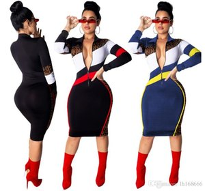 Wholesale Plus Size Women Long Sleeve Turn down Collar Stripe zipper up Bodycon Dress sexy print Club Party Dress Casual fashion Women Clothing