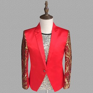 Wholesale sequins blazer men red suits designs jacket mens stage costumes for singers clothes dance star style dress punk splice masculino