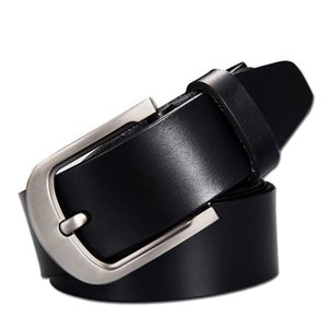 Wholesale Men Belt Cow Genuine Leather Luxury Strap Brand Fashionable Pin Buckle Wide Belts for Jeans Black Brown