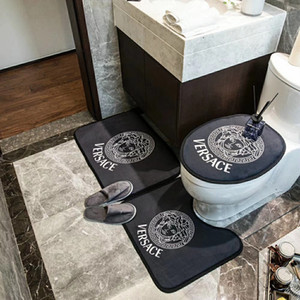 Wholesale Hot sale Three-piece set toilet seat three-piece fashion bedroom Crystal velvet door mat thick non-slip bathtub toilet seat cushion