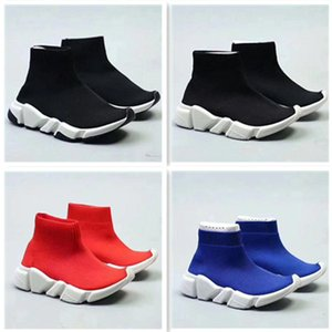 Wholesale 2018 Kids Fashion Ankle Boots Speed Stretch Mesh High Top Trainer Running Shoes Speed Knit Sock Mid-Top Trainer Sneakers