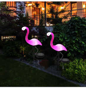 Wholesale LED Solar Flamingo Stake Light Lantern Solar Powered Pathway Lights Decorative Outdoor Lawn Yard Lamp For Garden Patio