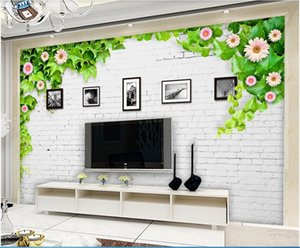 Wholesale frames for tv for sale - Group buy WDBH d wallpaper custom photo Modern minimalist white brick wall flower vine frame TV background wall home decor wallpaper for walls