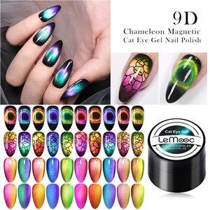 gato magnético al por mayor-LEMOOC D Cat Eye Gel UV Soak Off Nail UV LED polaca imán láser brillante colorido de uñas Arte Laca de Uñas