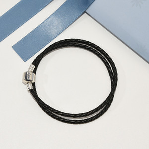 Luxury Double layer Black Real Leather Hand Chain Bracelet Logo Original box for Pandora 925 Silver Women Men's Chamrs Bracelet on Sale