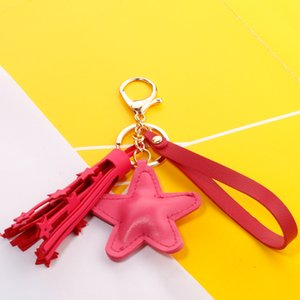Wholesale Fashion Leather Keychain Easy To Use Tassels Stars Bag Accessories Gift For Kids Multicolor Key Chain Good Quality