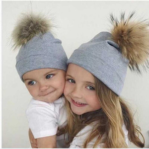 Wholesale plain white baby hats resale online - New Children S Dot Fashion Knit Cotton Hat Baby Scorpion Fox Fur Ball Hat Autumn And Children S Knit Hat Winter New Products