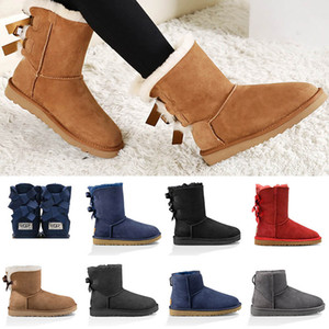 Wholesale 2019 Snow Winter fur Women Australia Classic knee half Boots Bow Ankle boots Black Grey chestnut navy blue red Womens kids girl shoes