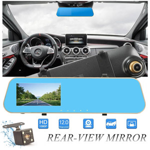 "2Ch 4.3"" 1080P full HD car DVR digital mirror camcorder vehicle driving recorder anti-glare rearview parking grid G-sensor cycle recording"