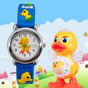 Wholesale Child Baby Toys Clock Cartoon Duck Children Watch Quartz Wristwatch Unisex Boys Girls Students Gift Kids Watches Reloj Infantil