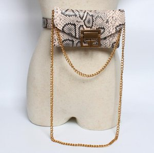 Wholesale The hottest lady shopping guide small pockets snakeskin chain belt belt bag detachable dual use fashion mobile phone bag purse